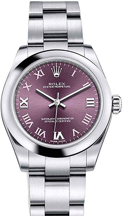 Rolex Oyster Perpetual 31 Red Grape Roman Dial Steel Ladies Watch
