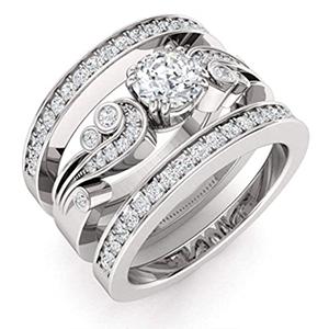 Gemstone and14K White Gold Band Diamond
