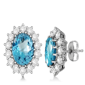 Topaz and Diamond Accented Earrings