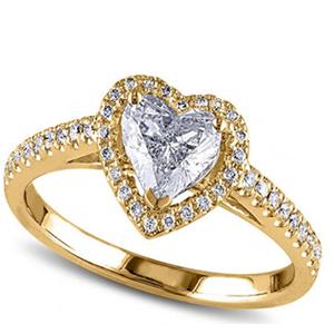 Allurez 1.00 Ct 14k Gold Heart Shaped Engagement Ring