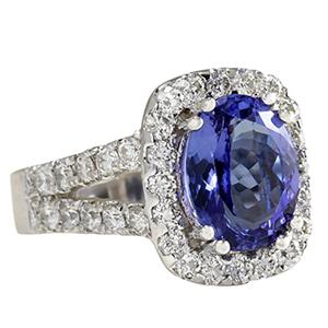 Fashion Strada 5.62 Carat Natural Blue Tanzanite ring