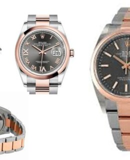 Rolex Datejust 36 Dark Rhodium Dial Men's Steel and 18k Everose Gold Oyster Watch 126201DRSO